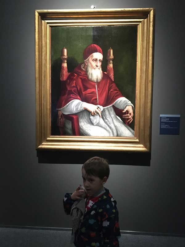 bmabino e quadro papa Giulio II