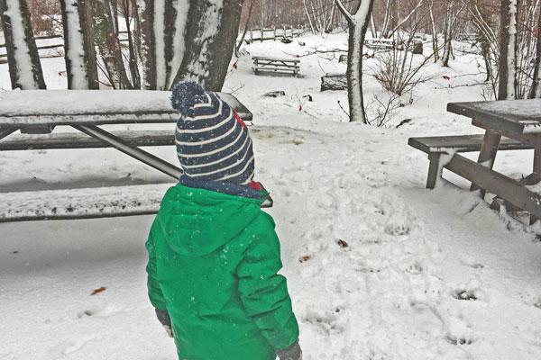 bambino nel bosco con neve
