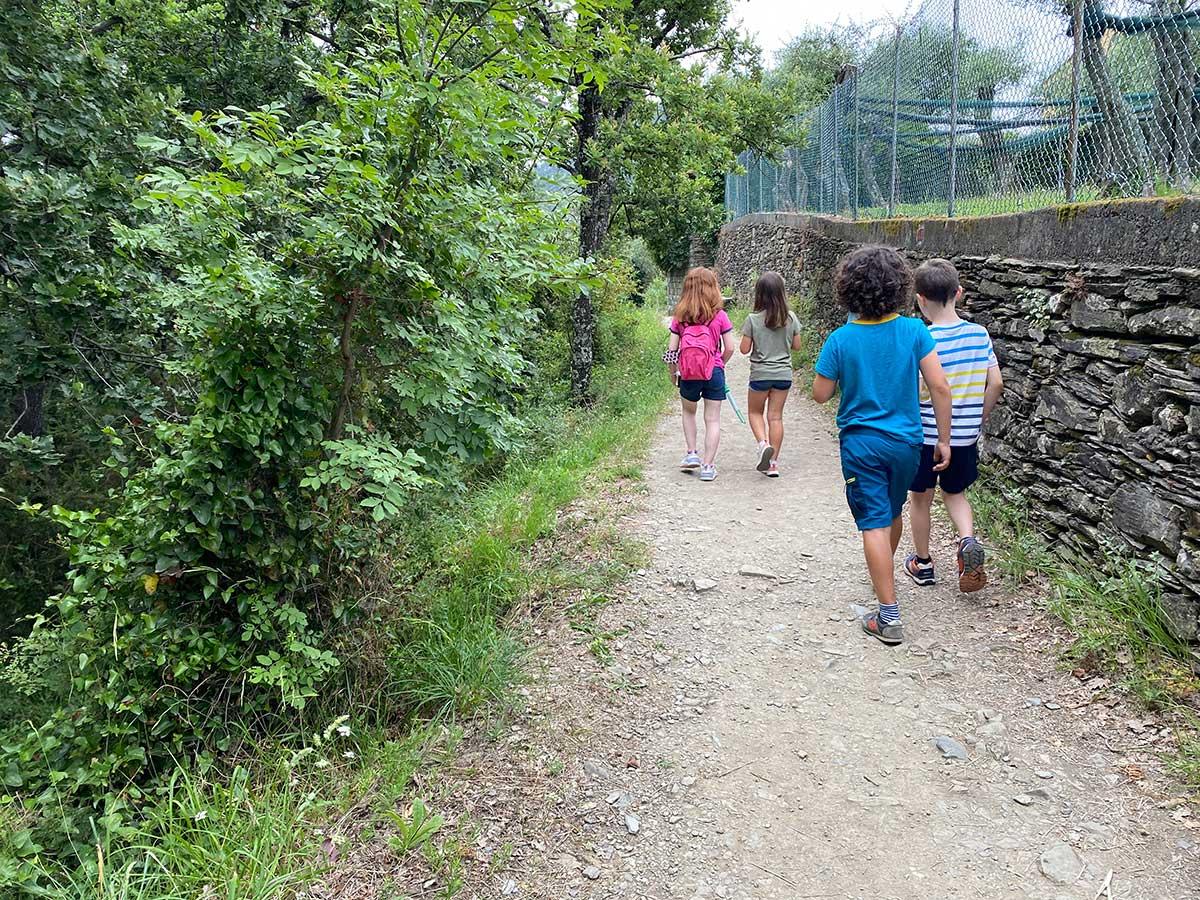 bambini di spalle su un sentiero